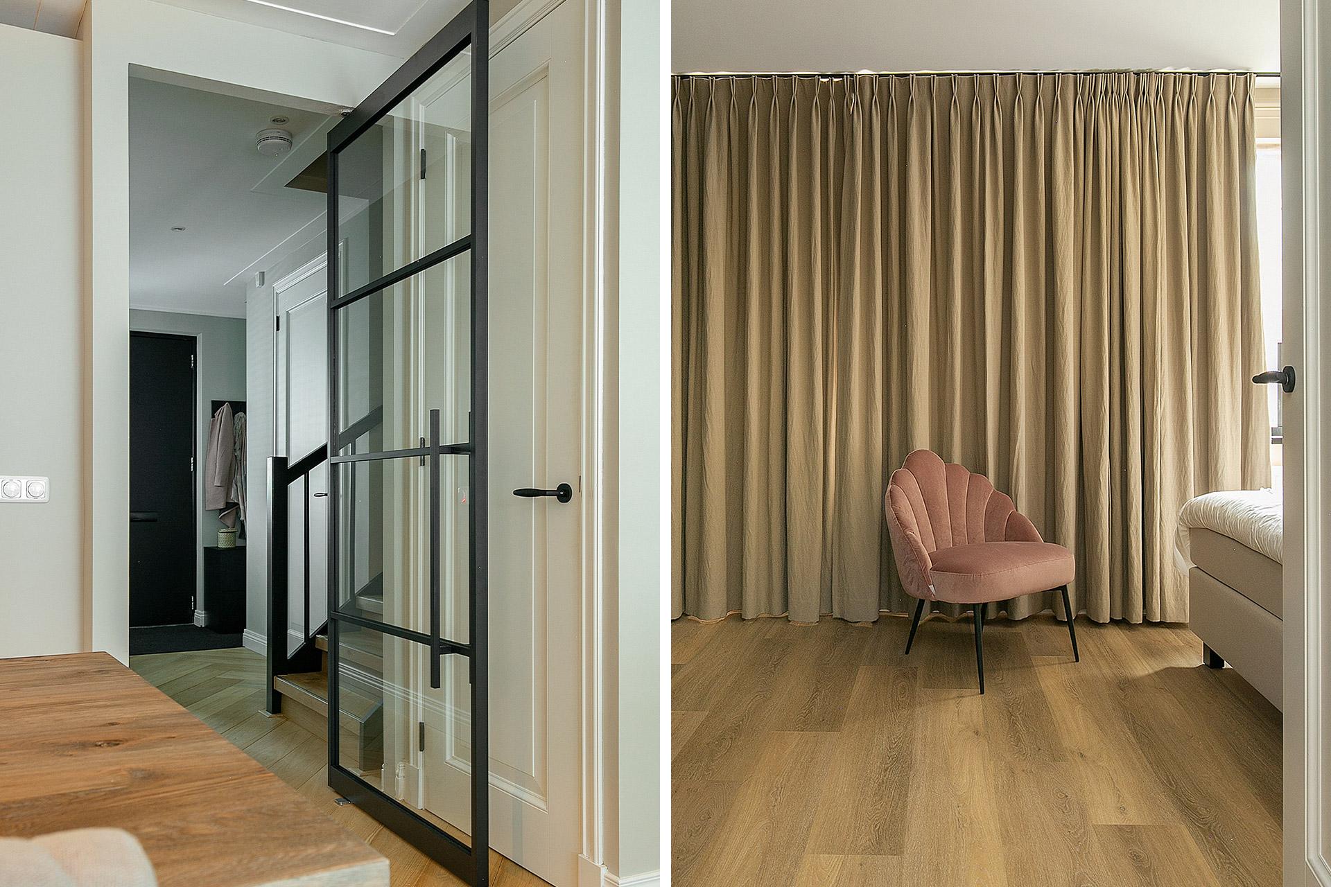 Project totaalconcept in Lisse: van visgraat vloer tot taatsdeuren, raamdecoratie en inbouwkasten